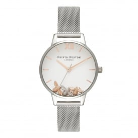 OB16CH02 Busy Bees Rose Gold & Silver Mesh Ladies Watch