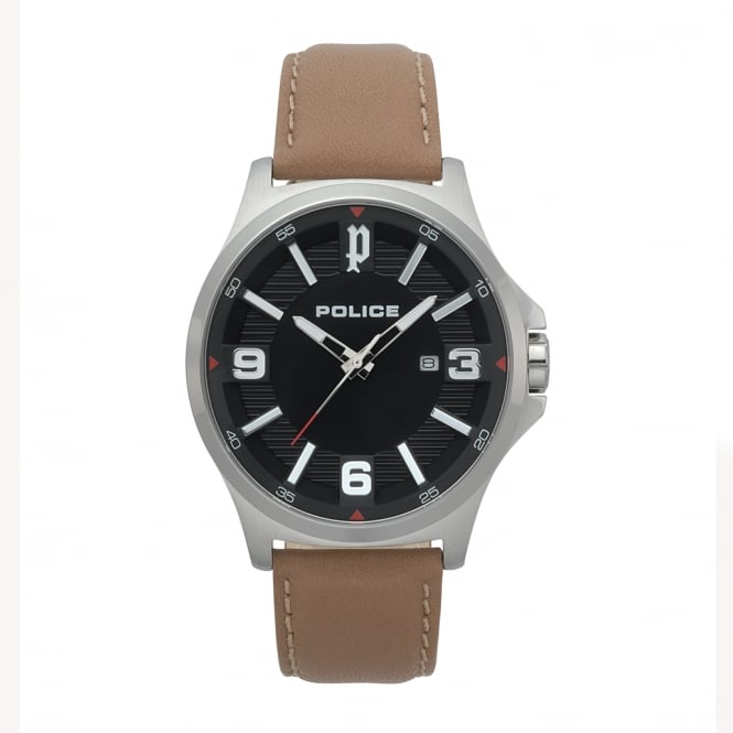 Police Watches 15384JS-02 Clan Tan Leather & Silver Stainless Steel Watch