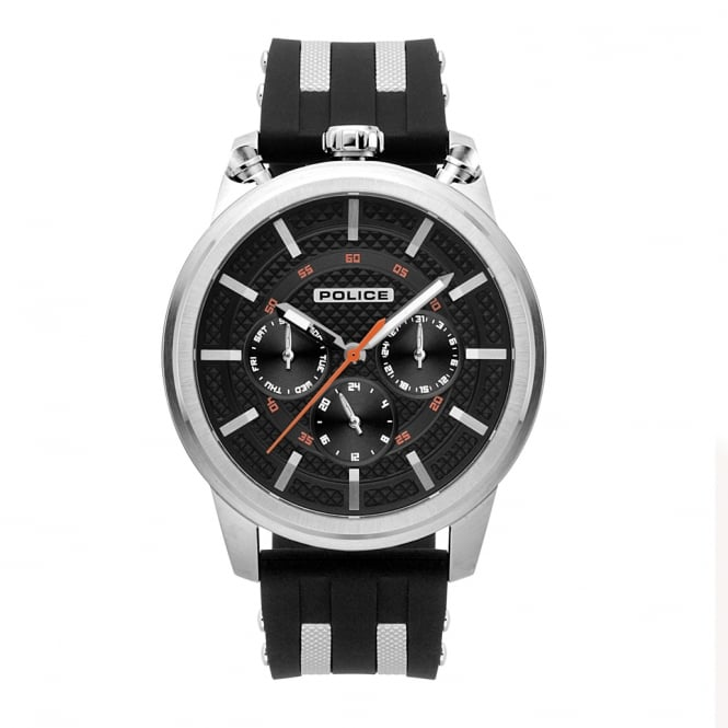Police Watches 15414JS/02P Upside Black & Silver Silicone Chronograph Watch