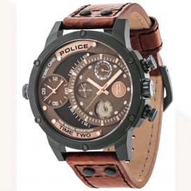 Adder 14536JSB/12A Men's Chronograph Brown Leather Watch