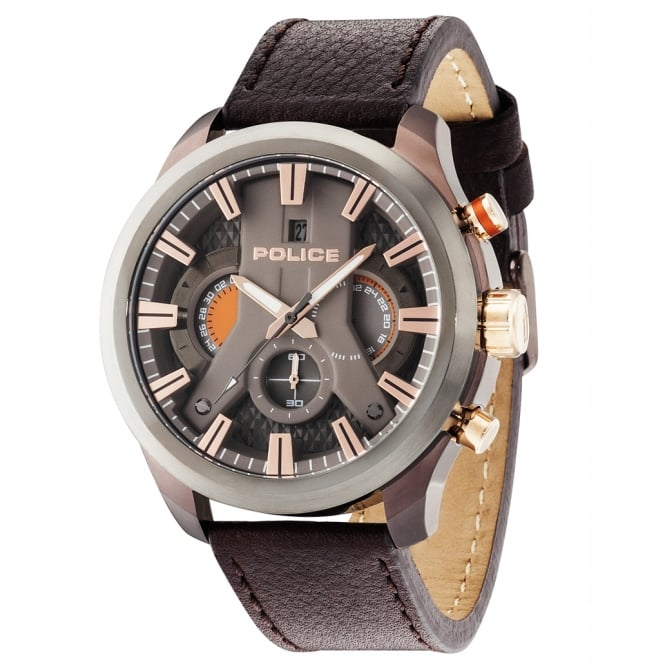 Police Watches Cyclone 14639JSBZU/61 Men's Chronograph Brown Leather Watch