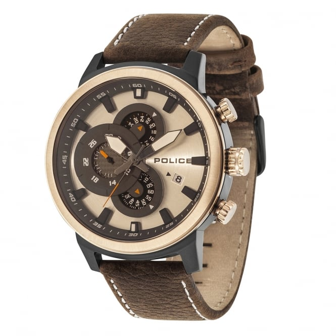 Police Watches Explorer 15037JSBR/04 Men's Chronograph Brown Leather Watch