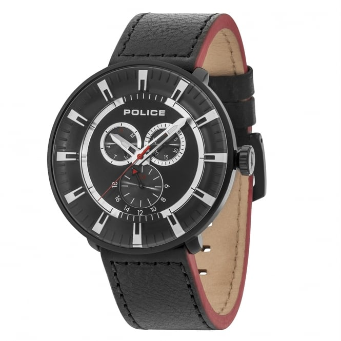 Police Watches League 15040XCYB/02 Men's Black & Red Leather Watch