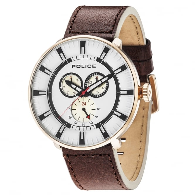 Police Watches League 15040XCYR/01 Men's Brown Leather Watch