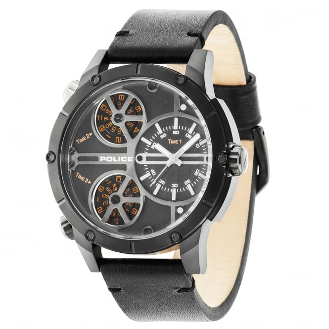 Police Watches Rattlesnake 14699JSB/02 Men's Black Leather Watch