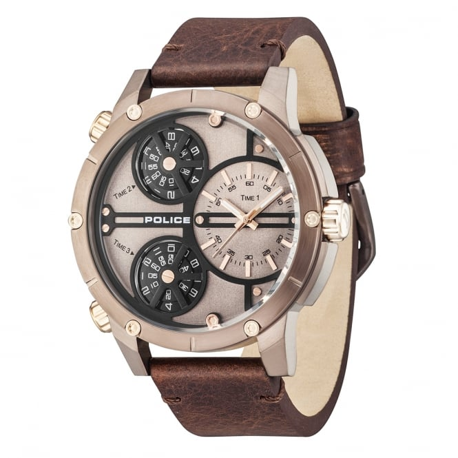 gold leather men sport military strap chronograph brown watch quartz mens case dial white guanqin watches