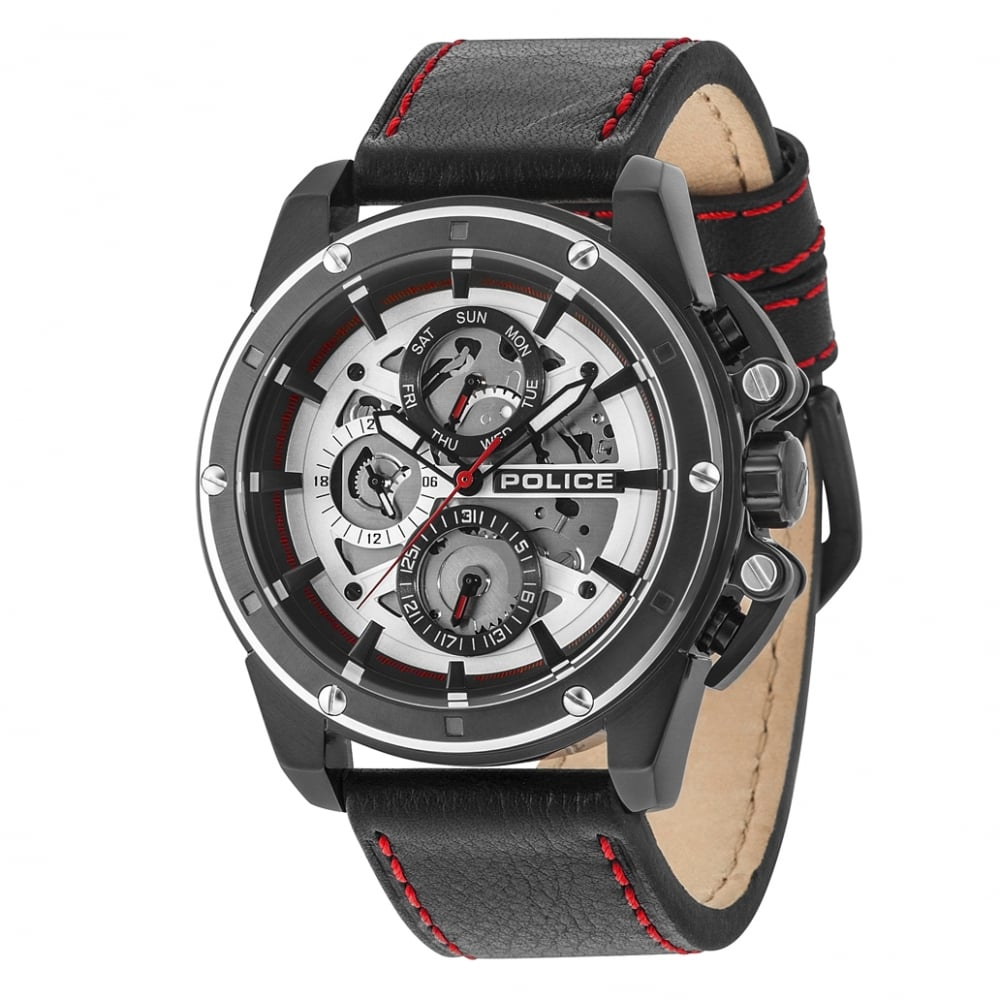 watch mens men image amp watches police black splinter s leather red chronograph