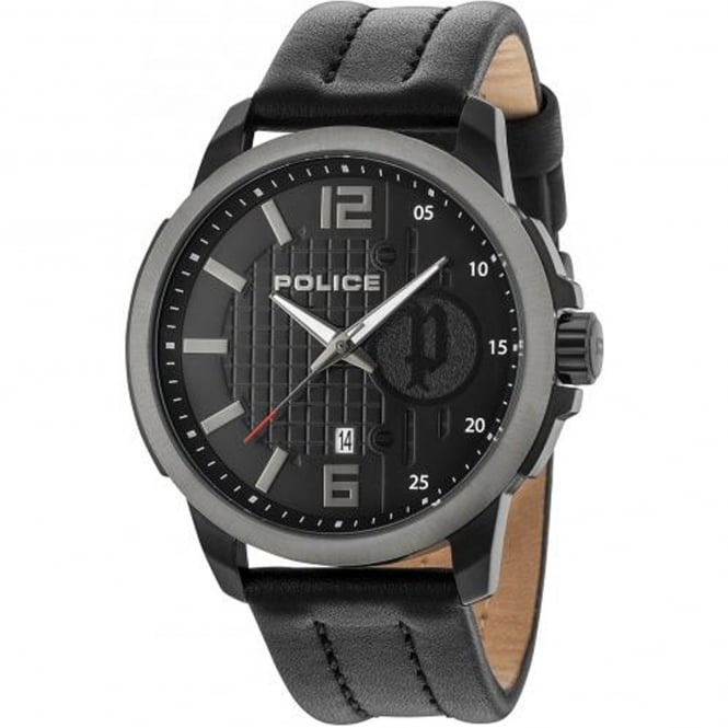 Police Watches Squad PL.15238JSBU/02 Men's Black Leather Chronograph Watch