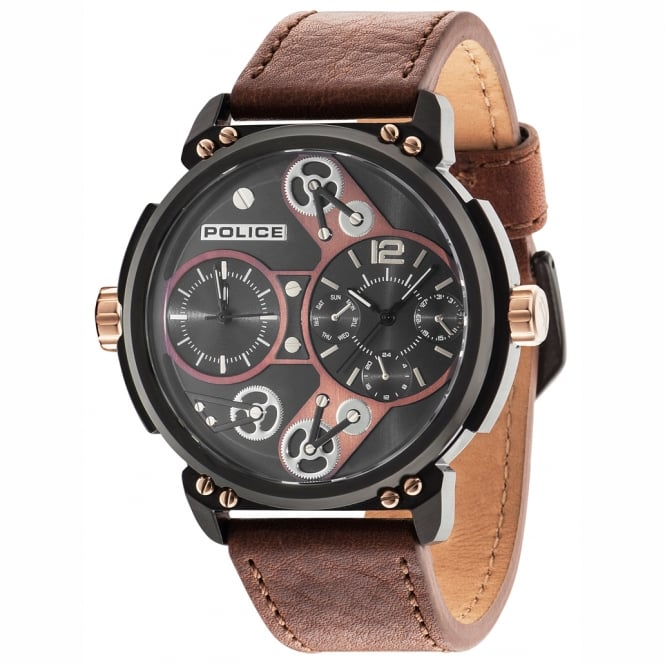 Police Watches Steampunk 14693JSB/12A Men's Brown Leather Watch