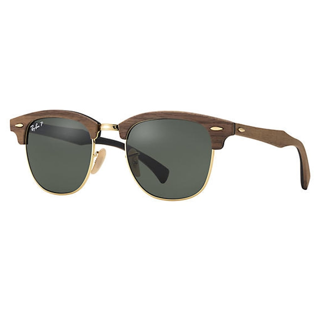 c0a56a685a6d 0RB3016M 118/158 51 Brown And Green Polarized Clubmaster Wood Men's  Sunglasses