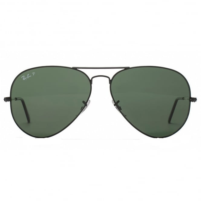 Ray Ban Sunglasses 0RB3025 002/58 58 Classic Black & Green Polarised Aviator Men's Sunglasses