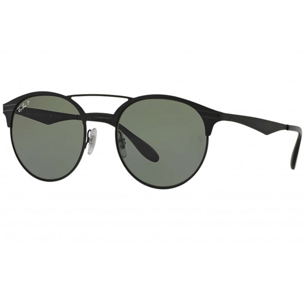 99cffd5dfd 0RB3545 186 9A 54 Round Shape Black Polarized Unisex Sunglasses