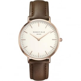 Rosefield B-W-BR-RO Bowery Rose Gold & Brown Leather Women's Watch