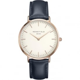 Rosefield B-W-BU-R The Bowery Rose Gold & Blue Leather Ladies Watch