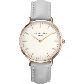 Rosefield B-W-GR-B9 The Bowery Rose Gold & Grey Leather Ladies Watch