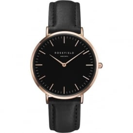 Rosefield BBBR-B11 Rose Gold & Black Leather Women's Watch