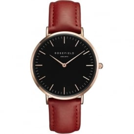 Rosefield BBRR-B12 Bowery Black & Red Leather Women's Watch
