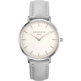Rosefield BWGS-B10 Bowery Silver & Grey Leather Women's Watch