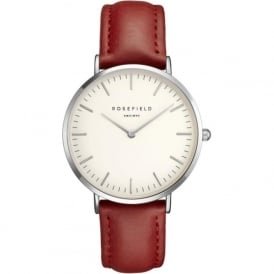 Rosefield BWRS-B6 Bowery Silver & Red Leather Ladies Watch