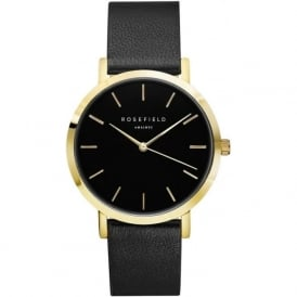 Rosefield G-BL-BL-GO Gramercy Gold & Black Leather Women's Watch