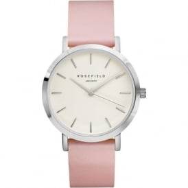 Rosefield G-W-P-S Gramercy Silver & Pink Leather Ladies Watch