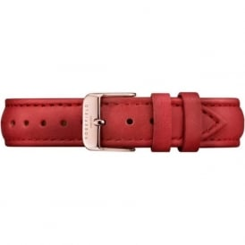 Rosefield S-RE-RO Stitched Rose Gold & Red Leather Women's Watch Strap