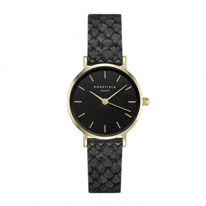 Rosefield 26BBG-262 The Small Edit Gold & Black Leather Ladies Watch