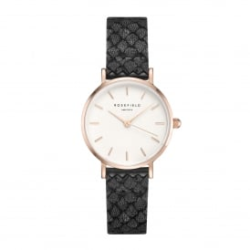 26WBR-261 The Small Edit Rose Gold & Black Leather Ladies Watch