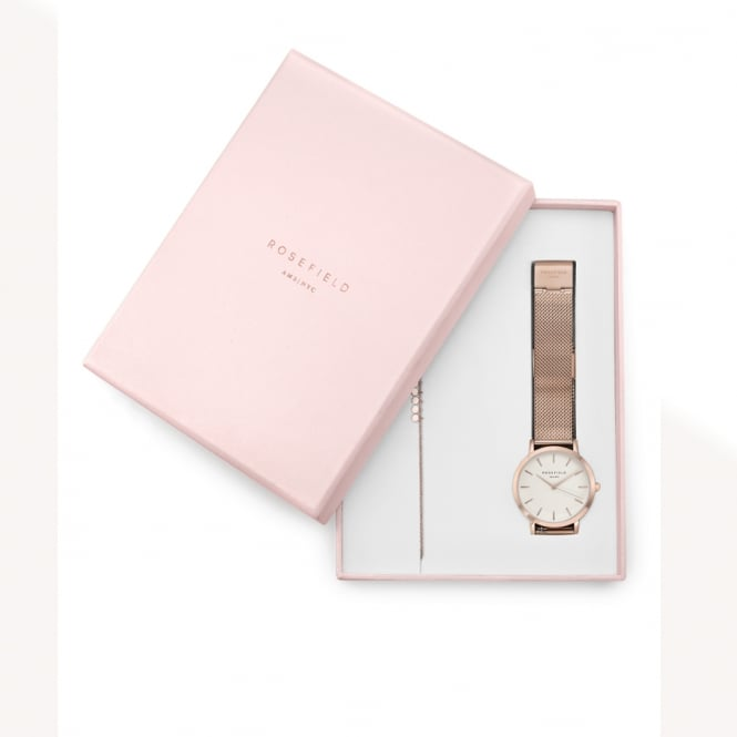 Rosefield Rosefield VBR-X003 Tribeca White Rose Gold + Baxter Rose Gold Gift Set