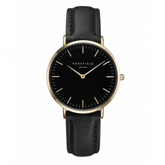 Rosefield TBBG-T56 The Tribeca Gold & Black Leather Ladies Watch