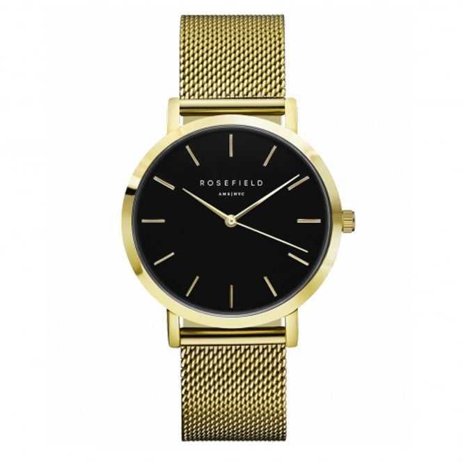Rosefield MBG-M46 The Mercer Black Dial and Gold Mesh Ladies Watch