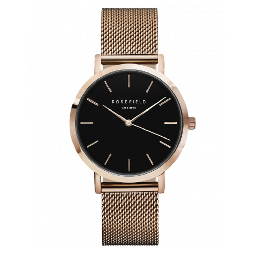 rosefield the mercer black dial and rose gold mesh ladies watch available at tic watches. Black Bedroom Furniture Sets. Home Design Ideas