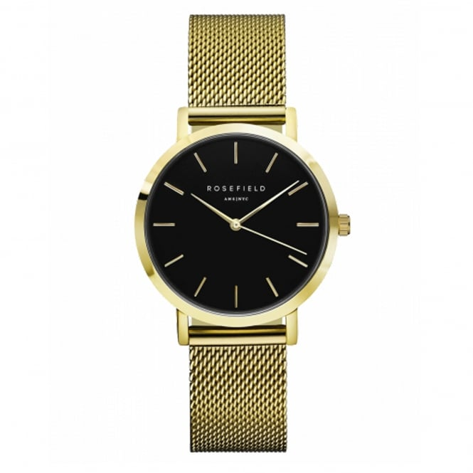Rosefield TBG-T60 The Tribeca Black & Gold Mesh Ladies Watch