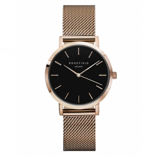 Rosefield TBR-T59 The Tribeca Black & Rose Gold Mesh Ladies Watch