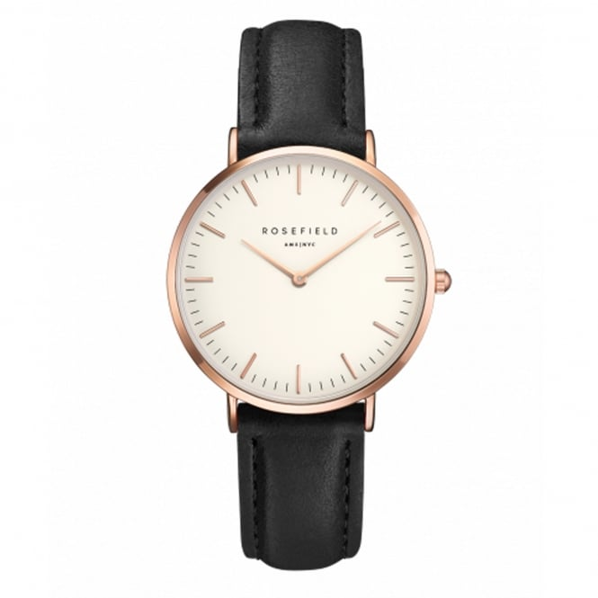 Rosefield TWBLR-T53 The Tribeca Rose Gold & Black Leather Ladies Watch