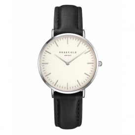 Rosefield TWBLS-T54 The Tribeca Silver & Black Leather Ladies Watch