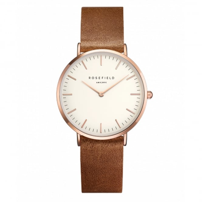 Rosefield TWBRRC-T55 The Tribeca Rose Gold & Brown Leather Ladies Watch