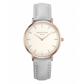 Rosefield TWGR-T57 The Tribeca Rose Gold & Grey Leather Ladies Watch