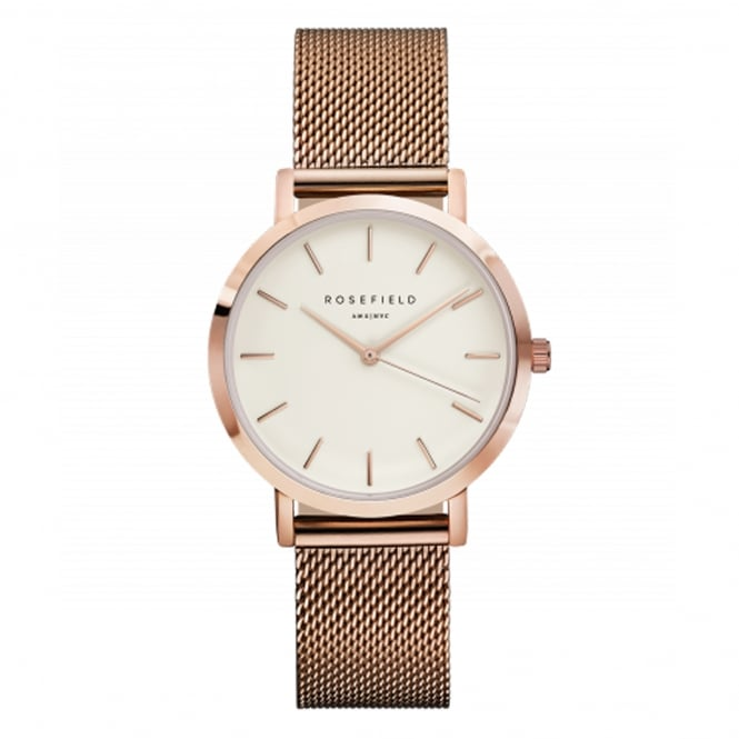 Rosefield TWR-T50 The Tribeca Rose Gold Mesh Ladies Watch