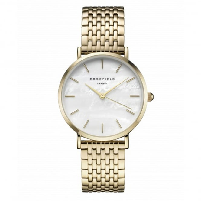 Rosefield UEWG-U21 The Upper East Side White Pearl & Gold Stainless Steel Ladies Watch