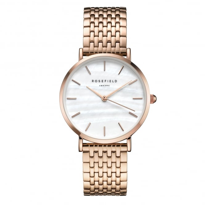 Rosefield UEWR-U20 The Upper East Side White Pearl & Rose Gold Stainless Steel Ladies Watch