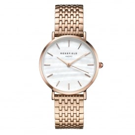 UEWR-U20 The Upper East Side White Pearl & Rose Gold Stainless Steel Ladies Watch