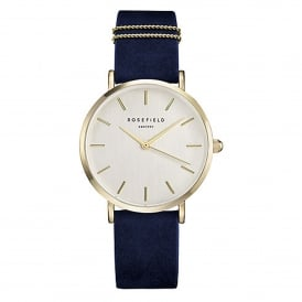 Rosefield WBUG-W70 The West Village Gold & Velvet Blue Leather Ladies Watch
