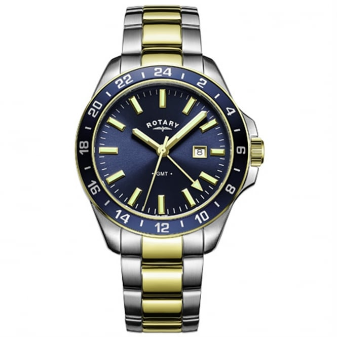 Rotary GB05082/05 Men's Havana GMT Stainless Steel & Gold Watch