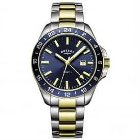 GB05082/05 Men's Havana GMT Stainless Steel & Gold Watch