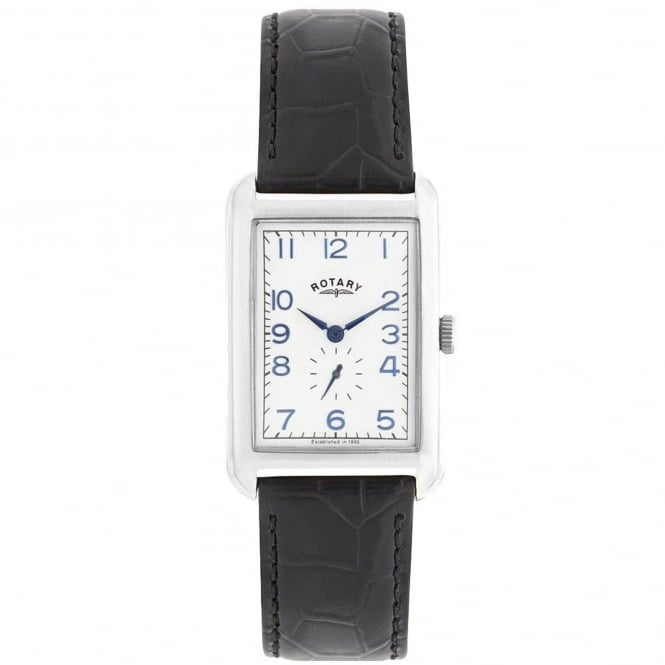 Rotary GS02697/21 Portland Silver & Black Textured Leather Men's Watch