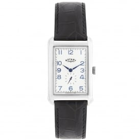 GS02697/21 Portland Silver & Black Textured Leather Men's Watch