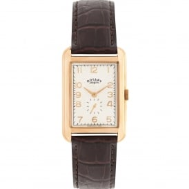GS02699/01 Portland Rose Gold & Brown Textured Leather Mens Watch