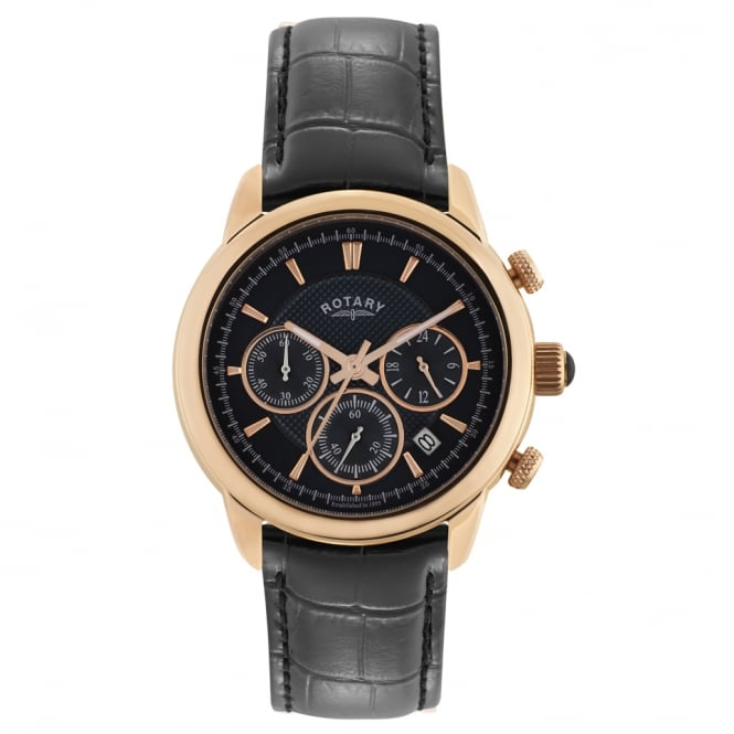 Rotary GS02879/04 Monaco Rose Gold & Black Leather Chronograph Men's Watch
