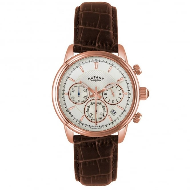 Rotary GS02879/06 Monaco Rose Gold & Brown Textured Leather Chronograph Men's Watch
